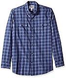 Amazon Essentials Chemise en sergé à manches longues et deux poches pour homme, coupe ajustée, Bleu (Navy Plaid Npl), US M (EU M)