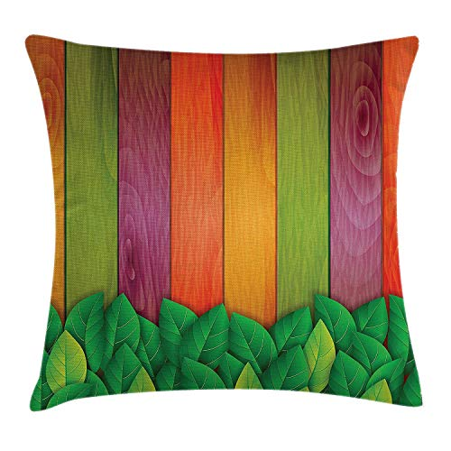 Leaf Throw Pillow Cushion Cover, Fresh Leaves on A Colored Wooden Board Background Retro Style Artwork Print, Decorative Square Accent Pillow Case, 18 X 18 inches, Red Purple Green (Toile Boudoir)