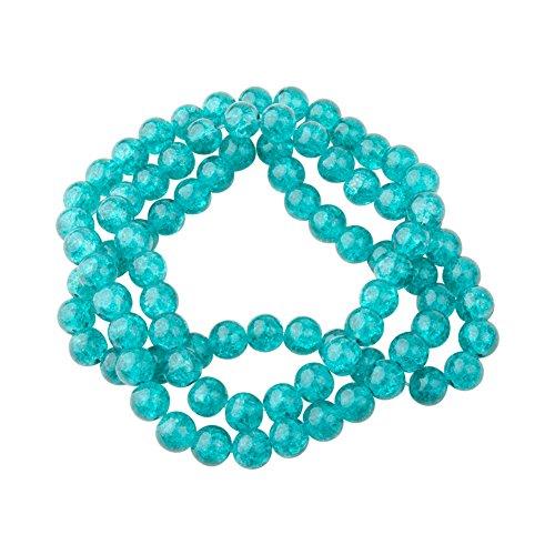 1 Chapelet de 80 Perles Rondes Verre Craquele Couleur Vert Menthe 10mm