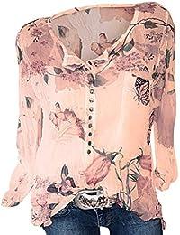 575dabcc906a9 ShallGood Camisas Mujer Camiseta De Cuello Alto De Solapa Casual Gasa Manga  Larga Lunares Tallas Grandes Camisetas Y Tops…