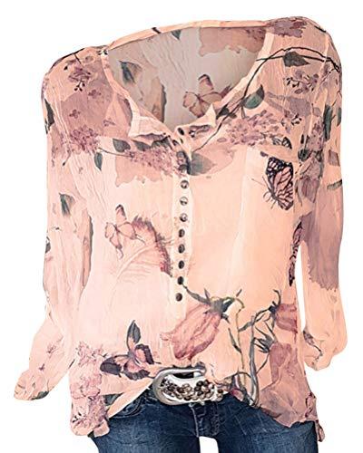 ShallGood Camisas Mujer Camiseta De Cuello Alto De Solapa Casual Gasa Manga Larga Lunares Tallas Grandes Camisetas Y Tops Estampada Blusa Top C Naranja ES 46