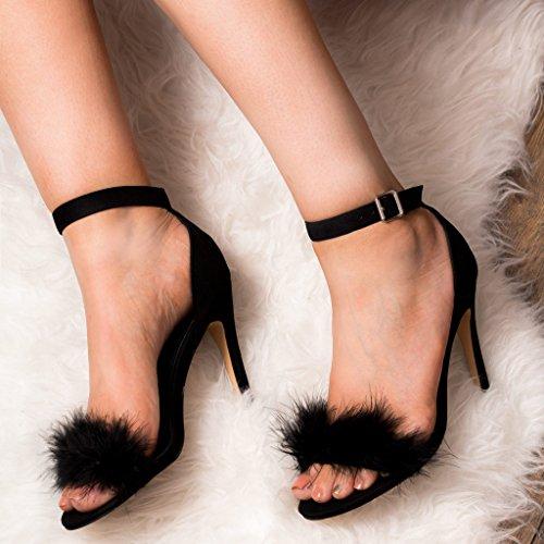 SPYLOVEBUY LUCY Damen Verstellbare Schnalle High Heel Absatz Pumps Schuhe Schwarz - Synthetik Wildleder