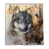 BIGJOKE Duschvorhang, Hund abstrakt, schimmelresistent, wasserdicht, Polyester, 12 Haken, 167,6 x 182,9 cm, Heimdekoration