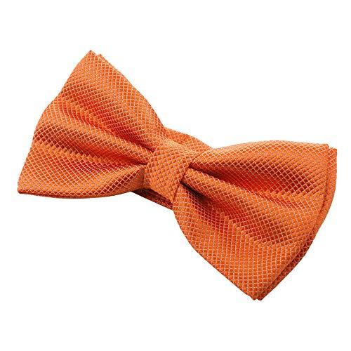 Kajeer Herren Fliege Schleife für Hochzeit Party - Einfarbig Einstellbar Smoking Fliege Nobel Seiden Vor gebundene formale Fliege (Orange Plaid, Plaid-Stil) Stil Bow Tie
