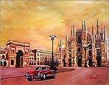 Leinwandbild 100 x 80 cm: Mailänder Dom mit Oldtimer Cabrio Alfa Romeo von M. Bleichner - fertiges Wandbild, Bild auf Keilrahmen, Fertigbild auf echter Leinwand, Leinwanddruck