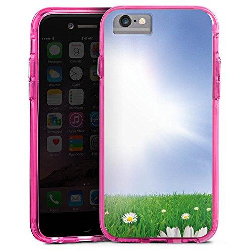 Apple iPhone 6 Bumper Hülle Bumper Case Glitzer Hülle Daisy Blumenwiese Sun Bumper Case transparent pink