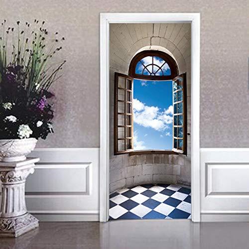 Gewölbte Fenster, Wand (tonywu türtapeten Vintage Gewölbte Fenster Wand Tür Aufkleber DIY Tür Poster Schlafzimmer Wohnkultur PVC wasserdichte Tür Tapete)