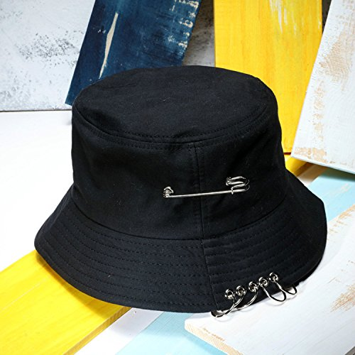 MZHPLD Panama Zwei Seite Reversible Unisex Mode Eimer Hut Bob Caps Hip Hop Gorro Männer Sommer Sun Cap traurige Jungen Strand BTS Eimer Hut schwarz Pin Fedora-pin