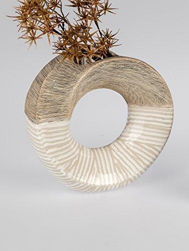 Schöne Keramik Vase in Brauntönen Blumenvase Keramikvase mit Streifen Dekoration