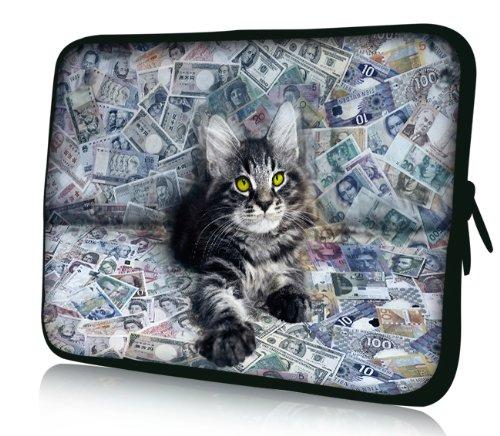 Luxburg® Design Laptoptasche Notebooktasche Sleeve für 17,3 Zoll (auch in 10,2 Zoll | 12,1 Zoll | 13,3 Zoll | 14,2 Zoll | 15,6 Zoll | 17,3 Zoll) , Motiv: Katze - Weiß Sony Laptop Vaio