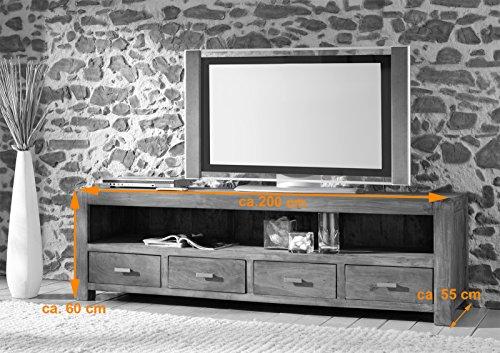 SAM® Longboard Timber 6647 aus Akazienholz, Sideboard tabakfarben, massiv, 4 Schubladen, 2 große Ablageflächen, viel Stauraum - 2