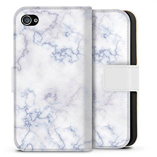 Apple iPhone X Silikon Hülle Case Schutzhülle Marmoriert Marble Marmor Look Sideflip Tasche weiß