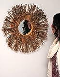Espejo-con-marco-de-madera-de-pared-natural-marrn-nico-redondo-60-cm