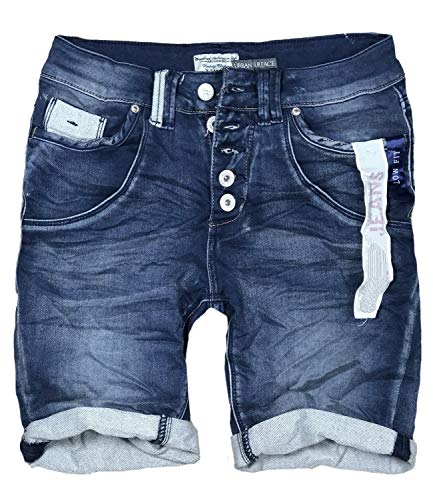 15 Farben Damen Jeans Bermuda Short by Eight2Nine Boyfriend Look tiefer Schritt Jeansbermuda mit Kontrastnähten Washed Kurze Hose (M, Dark Blue Duo) -