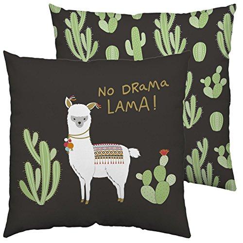 Produktbild Happy Life 45551 Baumwoll-Kissen mit Tier-Motiv, Kaktus und Spruch No Drama Lama, schwarz, bunt, 40 cm x 40 cm Zierkissen, Polyester, Grün, 40 x 40 cm