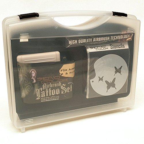 Senjo Color Airbrush Tattoo Starter Kit 12teilig mit Kompressor Airbrush, Farben und Schablonen -