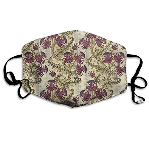 Monicago Masken für Erwachsene, Face Masks Anti-Dust Mouth Cover Adorable Nouveau Purple Thistle Flower Art Washable And Reusable Mask Warm Windproof For Women Men Boys Girls Kids