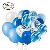 XUNKE 40 Pièces Ballons Confettis Bleu et Blanc Latex Ballon baudruche Décoration de Fête pour Mariage Anniversaire Baptême Baby Shower Communion
