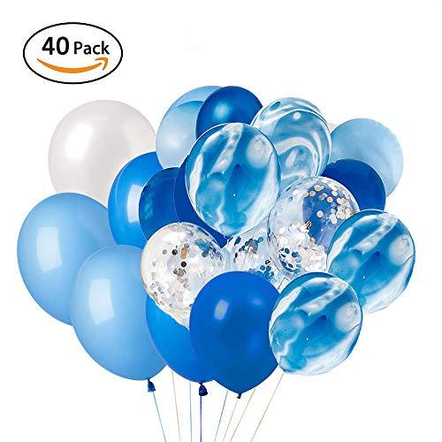 XUNKE 40 Stück 12 Zoll Konfetti Ballons Luftballon blau Weiss Latexballons Luftballons Heliumballons für Hochzeit Geburtstag Party Dekorationen, Babyparty, Graduierung, Brautgeschenke (Blaue Weiße Und Luftballons)