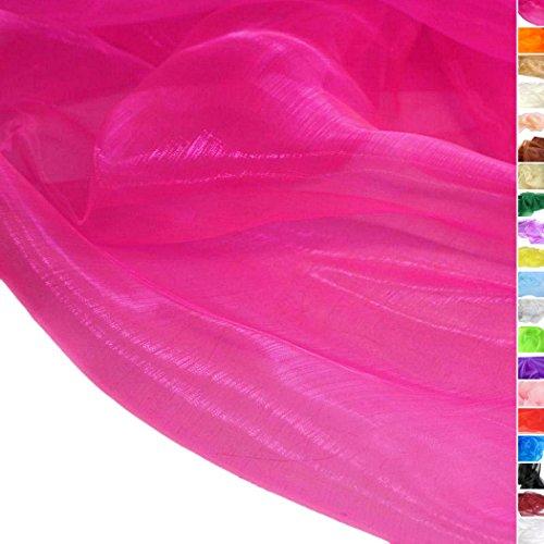 TOLKO Meterware | Organza Dekostoff - hauch Zart / Durchsichtig als Stoff zum Nähen, Drapieren oder Basteln (Pink)