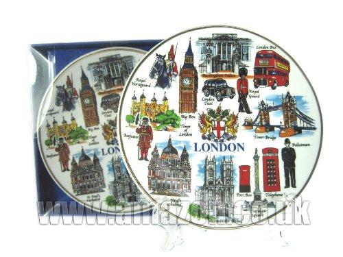 Assiette en porcelaine - Tout Londres avec Coat of Arms (20 cm avec support), Londres Souvenir à collectionner -103204