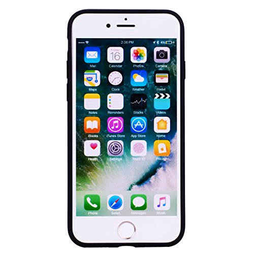 Coque iPhone 7 (4.7 pouce) , TPU couleur unie Case Silicone Slim Souple Étui de Protection Flexible Soft Cover Anti Choc Ultra Mince Integrale Couverture Bumper Caoutchouc Gel Anfire Housse pour iPhon Noir