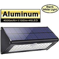 1100lm 4500mAh 46 LED Lampe Solaire en Aluminium, IP65 Imperméable Eclairage Exterieur Solaire, Radar Detecteur de Mouvement pour Patio, Jardin, Cour, Chemin, Escaliers, Garage - blanche chaude (1 Pack)