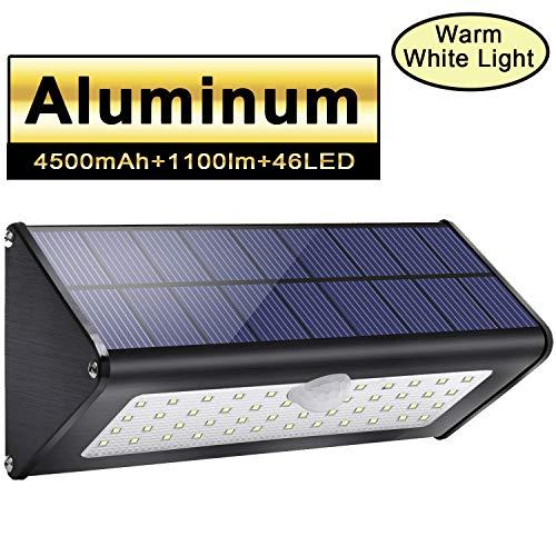 Licwshi 1100lm Solar Außenbeleuchtung 4500mAh Schwarz Aluminiumlegierung 120 ° Infrarot Bewegungssensor, wasserdicht IP65 Wireless Sicherheitslicht mit 4 Modi für Garten,Patio,Wall- warm weißes Licht