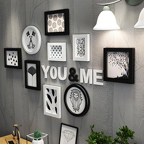 Bilderrahmen Collage Wohnzimmer kreative Holz-Kunststoff-Panel Rahmen Kombination Wanddekoration ( Farbe : Schwarz und weiß )