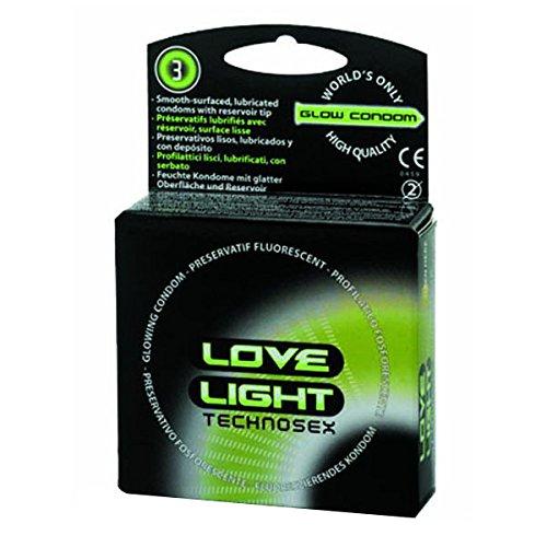 Love Light Leucht-Kondome 3 Stück, 1er Pack (1 x 3 Stück)
