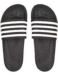 afc426c4da5b DRUNKEN Slippers for Men Black Open Toe Slip On Slide Flip Flop Slippers  with Stripes