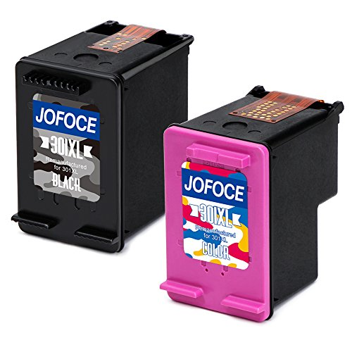 Jofoce Remanufactured HP 301XL 301 Ink cartridges, Compatible with HP Deskjet 2540 1510 3050 3055 1050A 2050A 3000A, Officejet 4630 4634, 4500 5530 5532 5534 Envy Printer (1 1 Black tricolor)