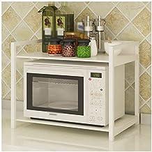 Cocina Horno de microondas Estante Estante del horno Utensilios de cocina Rack de almacenamiento Estante 60CM Blanco Marco + Blanco cálido