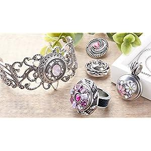 AKKi jewelry Akki Mini Chunks Edelstahl Ringe für druckknöpfe 12mm Amsterdam Schmuck Anhänger Chunk knöpf für Damen Druckknopf Silber Charms Click Button Schwarz größe 17,18,19, 20