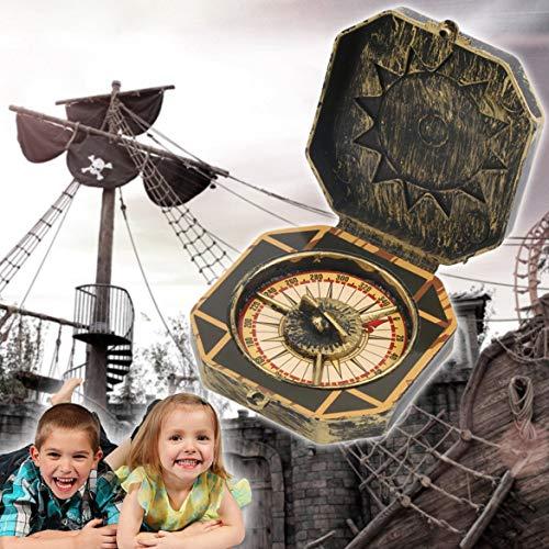 JohnJohnsen Einzigartige ABS Design Piraten-Kapitän Kostüm Spielzeug Seekompass Halloween-Party-Kind-Geschenk tragbare Größe Kinder Kinderspielzeug (Bronze)