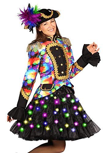 Tanz Burlesque Kostüm - Das Kostümland LED Volumen Petticoat Bellatrix für Damen 53 cm - Schwarz/Bunt - Tüllrock halbtransparent bauschig Unterrock Piratin Burlesque Tellerrock Fasching Show Tanz