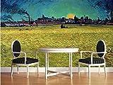 GBHL Photo papier peint 3d Van Gogh peinture à l'huile fonctionne or champ de blé salon chambre étude murale papier peint mural papiers peints décor à la maison, 400x280 cm (157.5 par 110.2 in)