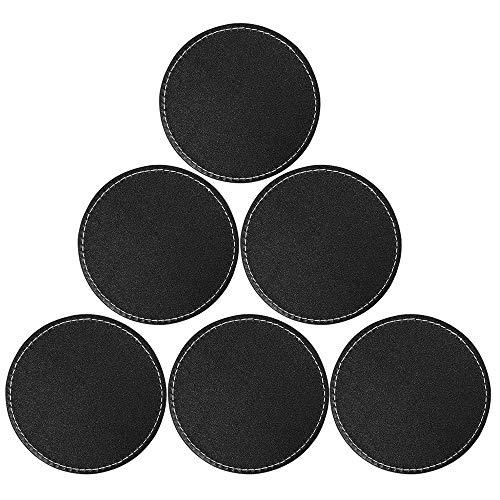 6 Leder-Untersetzer-Untersetzer Runder Cup-Matte-Pad für Haushalt und Küche Schwarz 3,94 - Larry Leder