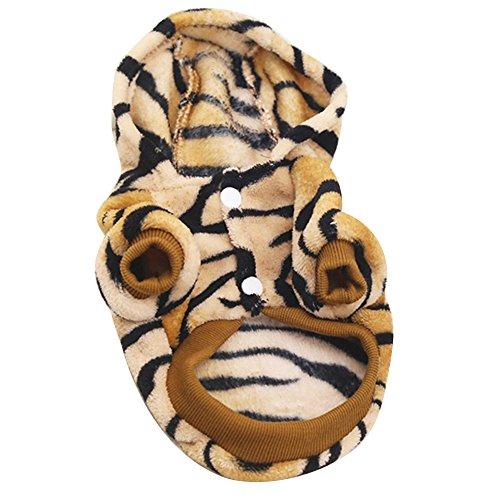 nuohuilekeji Herbst Winter Pet Hund Warm Hoodie Coat Tiger Stil Dick Flanell Puppy ()
