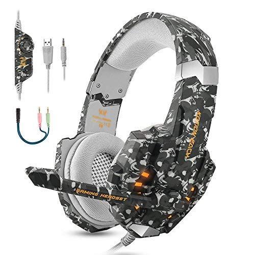 ECOOPRO Gaming Kopfhörer für PS4 Xbox PC, LED Licht Gaming Headset mit Mikrofon Noise Canceling & 3.5mm Stereo Bass Headset für Mac Laptop Tablet (Camo)