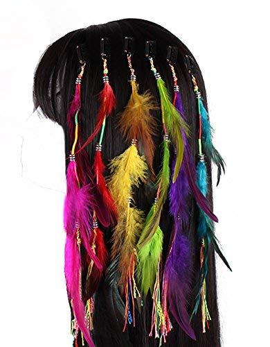 Juego de 6hecho a mano Boho Hippie extensiones de pelo con clip de p