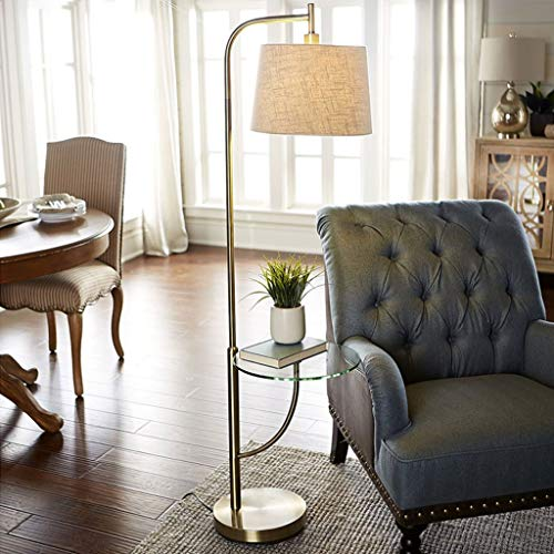 Lampadaires- Lampadaire rotatif salon chambre étude table basse lampe simple étagère en verre lampe de table verticale facile à installer lampe de lecture (Couleur : Lin)