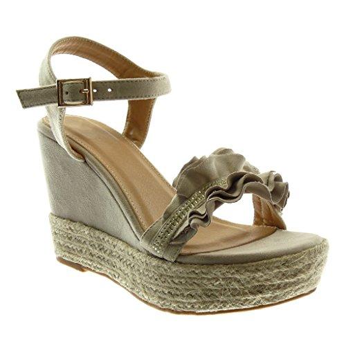 Angkorly scarpe moda sandali espadrillas zeppe donna con volant strass corda tacco zeppa piattaforma 11 cm - beige wh875 t 41