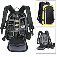 Goin Oxford Large Capacity Multi-function Waterproof Anti-shock Camera Backpack Dslr Slr Camera Backpack Camera Bag with Tripod Strap and Extra Rain Cover for Canon Nikon Sony Olympus Pentax Samsung (Black & Yellow)