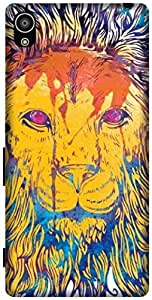 The Racoon Grip printed designer hard back mobile phone case cover for Sony Xperia Z5. (Lion Water)