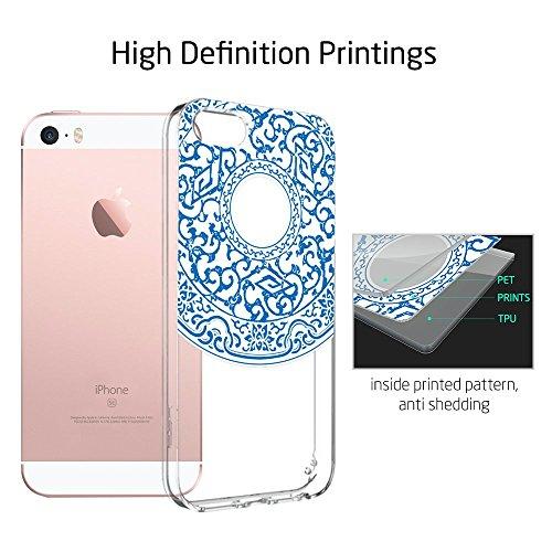 iPhone SE Hülle, ESR® Totem Bildserie Weiche TPU Rahmen mit Hart PC Zurück mit Bändsel Loch Schutzhülle für iPhone SE 5S 5 (Manjusaka) Moire