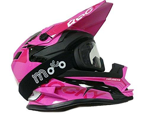 Kinder Motocross Helm 3GO xk-188Rocky Cub Quad Bike Off Road Motorrad Race Mädchen MX Pink Helm + X1schwarz Brillen - L