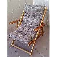 Sillón Relax de madera plegable con cojín acolchado de color gris tórtora