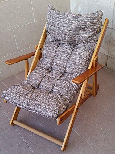 Fauteuil relax en bois pliable avec coussin rembourré gris taupe