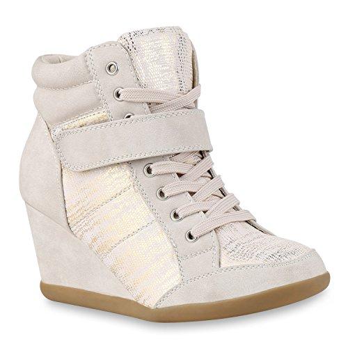 Damen Sneakers Keilabsatz Sneaker-Wedges Metallic Prints Schuhe Creme
